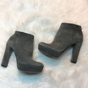 Micheal Kors Gray suede heeled ankle boots